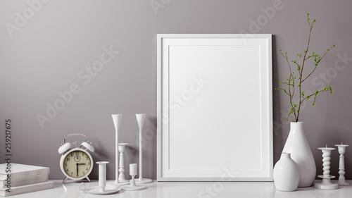 Fotografie, Obraz  3D Rendering von weissem und leerem Foto oder Bilderrahmen vor grauer Wand als V