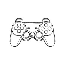 Gaming Controller Illustration. Retro Gaming Controller Line Drawing