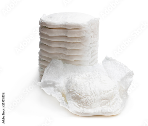 Fotografiet  Stack of adult diapers isolated on white