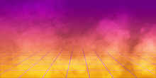 3D Render, Background Retro 1980 , Yellow And Purple Gradient Whit Grid And Smoke.