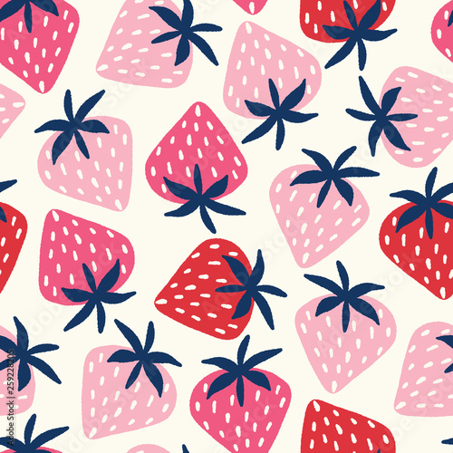 obraz lub plakat Vector seamless pattern with hand-drawn strawberries in pink and red on an off white background