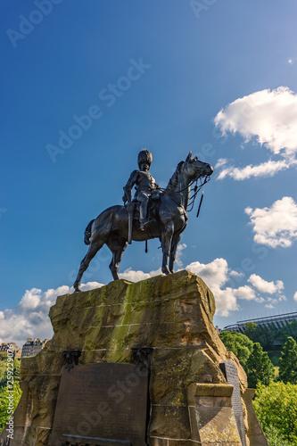 Details of Edinburgh city, Statue, Scotland Uk, Traveling in Europe Canvas Print