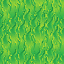 Flame Fire Seamless Pattern Background. Green Digital Background Made Of Interweaving Curved Shapes. Seamless Wrapping Paper Pattern