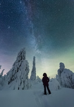 Rear View Of Person Watching Northern Lights