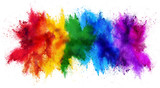 Fototapeta Tęcza - colorful rainbow holi paint color powder explosion isolated white wide panorama background