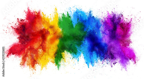 colorful rainbow holi paint color powder explosion isolated white wide panorama Canvas Print