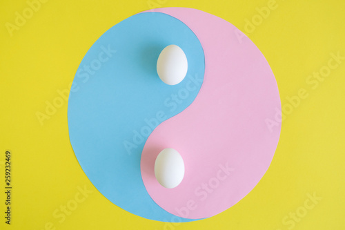 Fotografie, Obraz  Yin yang abstract with eggs on yellow background.