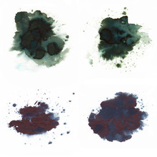 Abstract Fountain Pen Ink Spot With Droplets, Smudges, Stains, Splashes, Sheen. Pine Green And Grey Color Blots, To Design And Decor, Banners, Cards