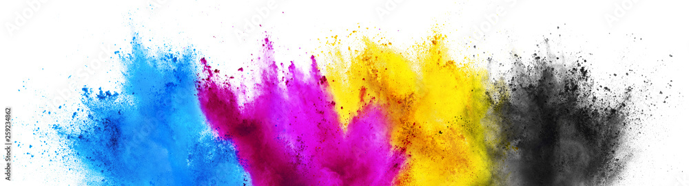 Fototapeta colorful CMYK cyan magenta yellow key holi paint color powder explosion print concept isolated white background