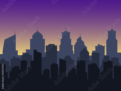 Foto auf Leinwand Violett city background with buildings silhouettes