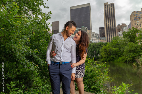 Young Man And Woman Romantic Couple Hug and Kiss In Central Park, New York City Canvas Print