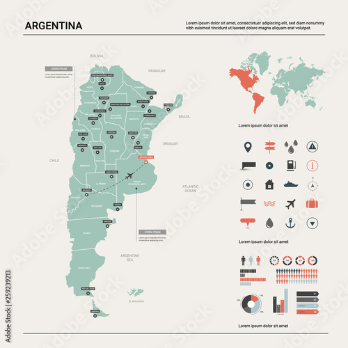 Vector map of Argentina Canvas Print