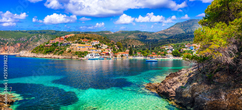 Amazing colorful Greece - Assos village in Kefalonia. Ionian islands