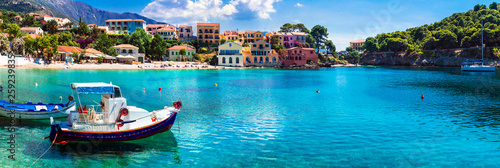 Beautiful colorful Greece series - coastal village Assos in Kefalonia island