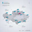 Kazakhstan vector map with infographic elements, pointer marks.