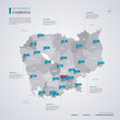 Cambodia vector map with infographic elements, pointer marks.