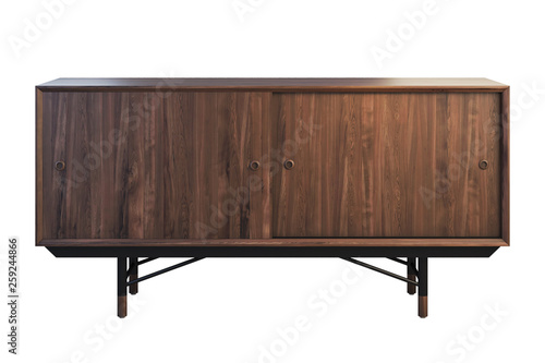 Valokuvatapetti Sideboard with retractable shelves on the legs. 3d render