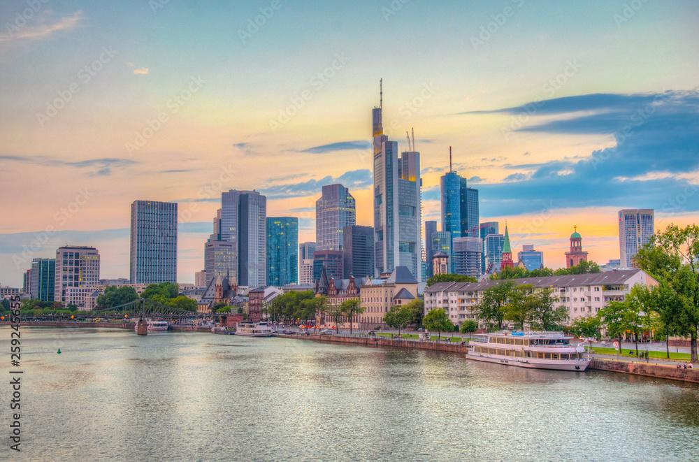 Fototapety, obrazy: Sunset view of skyscrapers alongside river Main in Frankfurt, Germany