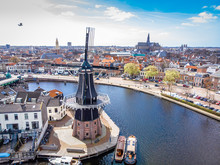 Aerial View Of Windmill In Haarlem, Netherlands