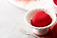 Red Heart-shaped Valentine Cake On The Dining Table