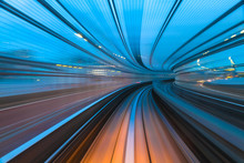 Speed And Motion. Train Ride Through A Tunnel  In A Modern City.