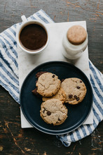 Chocolate Chip Cookies With Coffee And Milk