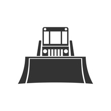 Bulldozer. Front View. Black Silhouette Of A Tractor. Vector Drawing. Isolated Object On White Background. Isolate.