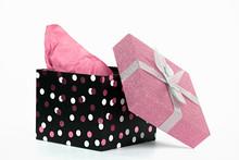 Polka Dot Gift Box With Pink T...