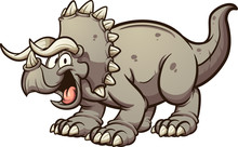 Cartoon Triceratops Dinosaur C...