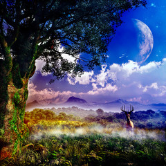 Panel Szklany Natura epic fantasy forest illustration with majestic tree and natural environment