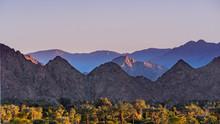 Sunset Landscape In Coachella Valley, Palm Desert, California