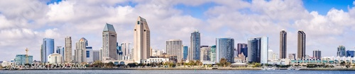 Fotografie, Tablou Panoramic view of the downtown San Diego skyline, California