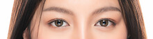 Close-up Asian Women's Eyes On White Blackground.