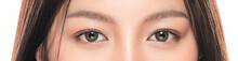 Close-up Asian Women's Eyes On White Blackground.