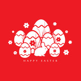 Vector illustration of Easter Rabbit red background.  - 259259283