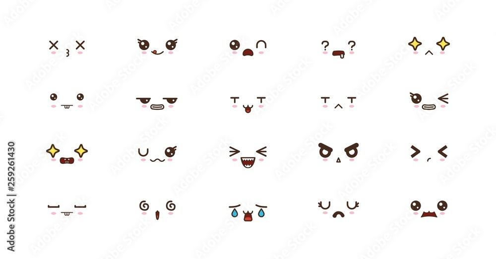 Fototapety, obrazy: Kawaii cute faces smile emoticons. Japanese emoji