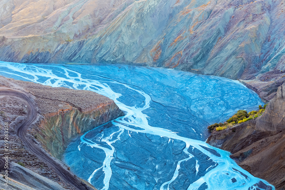Fototapety, obrazy: canyon landscape of blue river valley closeup