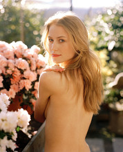 Shirtless Young Woman In Flowe...