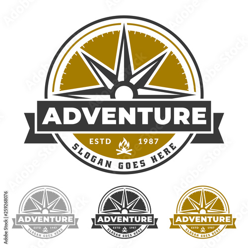 Photo  Compass logo for adventure life, outdoor and explorer emblem