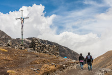 Couple Holding Hands Walking At Pilgrimage Of Lord Of Coyllority, In Cusco Peru