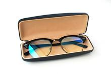 Blue Glasses Filter Box On White Background.