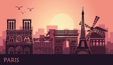 Fototapeta Fototapety z wieżą Eiffla - Stylized landscape of Paris with Eiffel tower, arc de Triomphe and Notre Dame Cathedral and other attractions