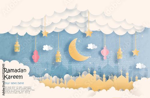 Montage in der Fensternische Himmel Eid Mubarak greeting Card, Ramadan Kareem for banner, poster, background, illustration, brochure and sale background in paper cut style. Vector illustration