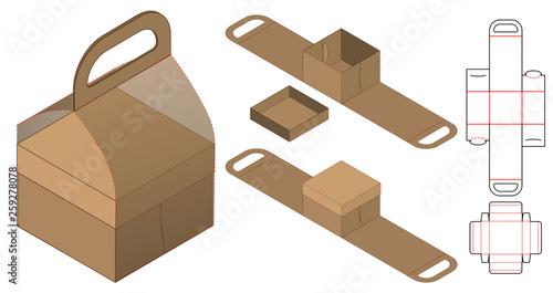 Foto Box packaging die cut template design. 3d mock-up