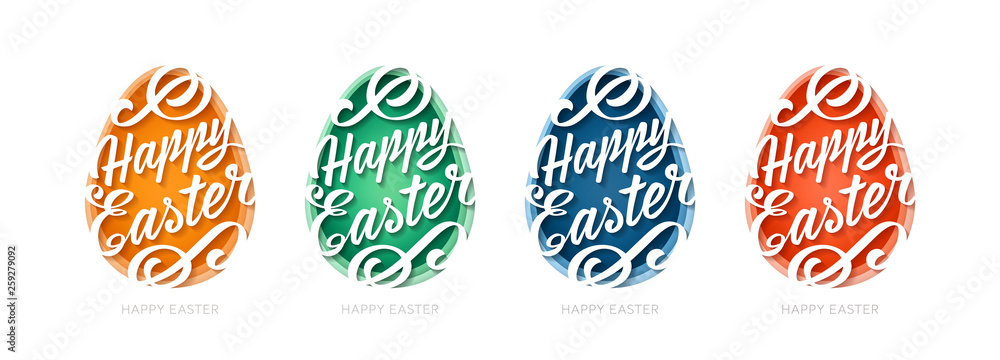 Set of Abstract paper cut illustration of egg with happy easter calligraphy on white background different colors