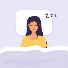Woman Sleep In Bed. Person Having A Dreamful Slumber In Bed On A Pillow With Some Sleeping Sound.
