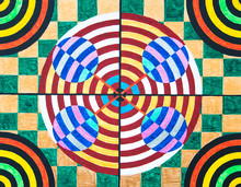 Hand Painted Bullseye Deisgn With Checkerboard Background And Stripes