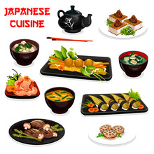 Japanese Dishes With Asian Sushi And Soups