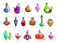 Potion Bottles With Magic Liqu...