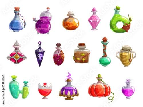 Fototapeta Potion bottles with magic liquid elixir of witch obraz